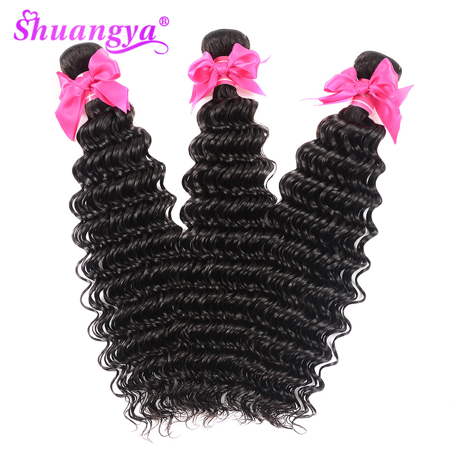 Shuangya Remy Hair 4 Bundles Deep Wave Brazilian Hair Weave Bundles 100% Human Hair Extensions Natural Color Hair Weaves-in 3/4 Bundles from Hair Extensions & Wigs    3