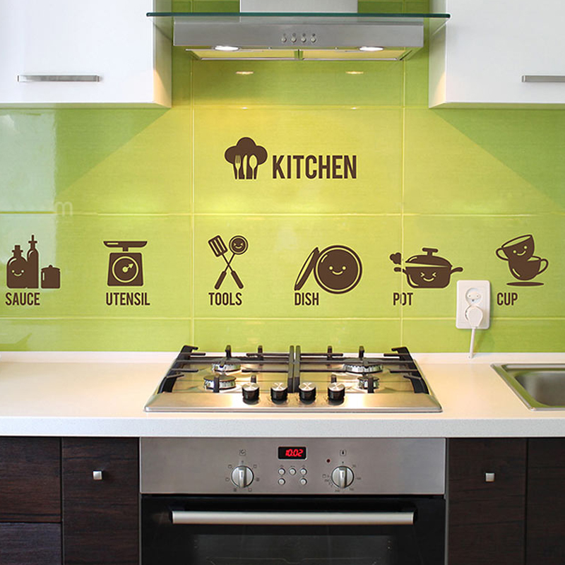 Zs Sticker kitchen wall stickers cooked home decor utensil mural ...