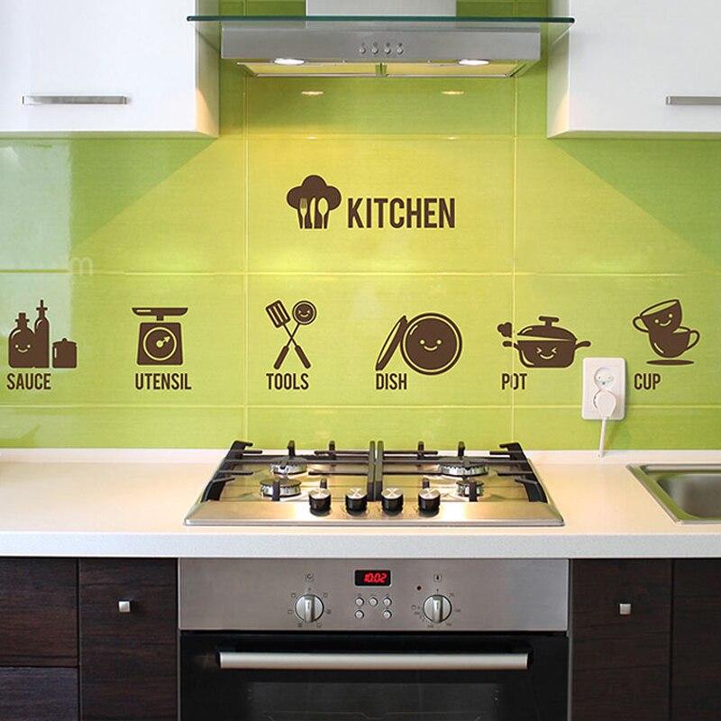 Кухня приготовленный Инструменты дома Съемный Наклейка Наклейки на стену винил кухни Цитата Книги по искусству Декор украшение дома