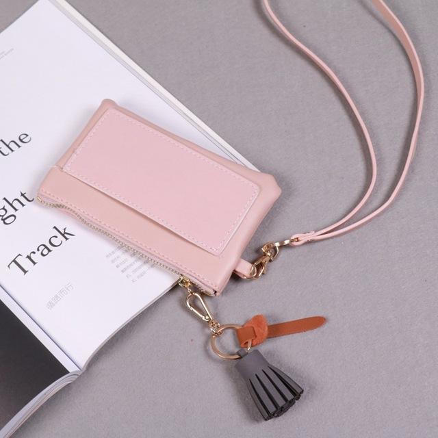 Factory direct foreign female bag neck hanging bag fashion trendy South Korea mobile phone color tassel zero wallet key card