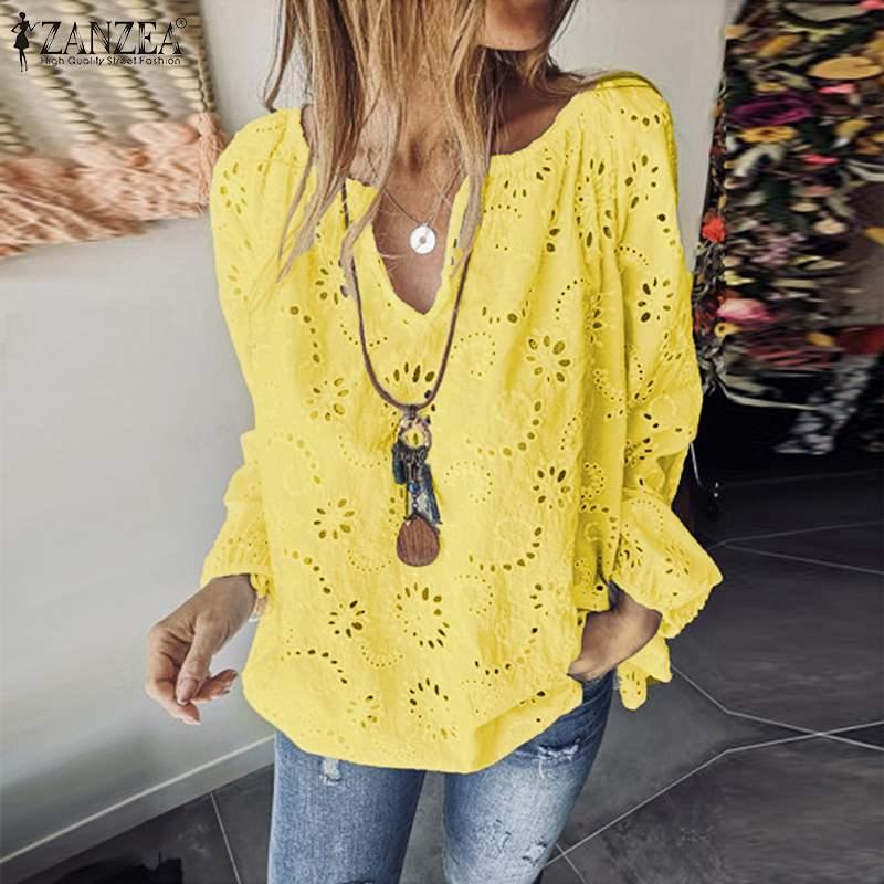 Elegant Casual Hollow Tunic Women's Summer Blouse 2019 ZANZEA Chemise Long Sleeve Shirts Female V Neck Lace Blusas Plus Size Top