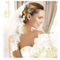 2015 White Ivory Wedding Veil 5m Long Comb Lace Mantilla Cathedral Bridal Veil Wedding Accessories Veu