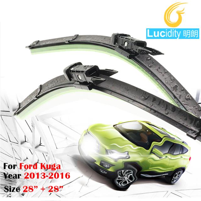 1 Pair Para Ford Kuga 2013-2016 Carro Limpador Frameless Windshield Windscreen Limpador Lâmina de Borracha Macia
