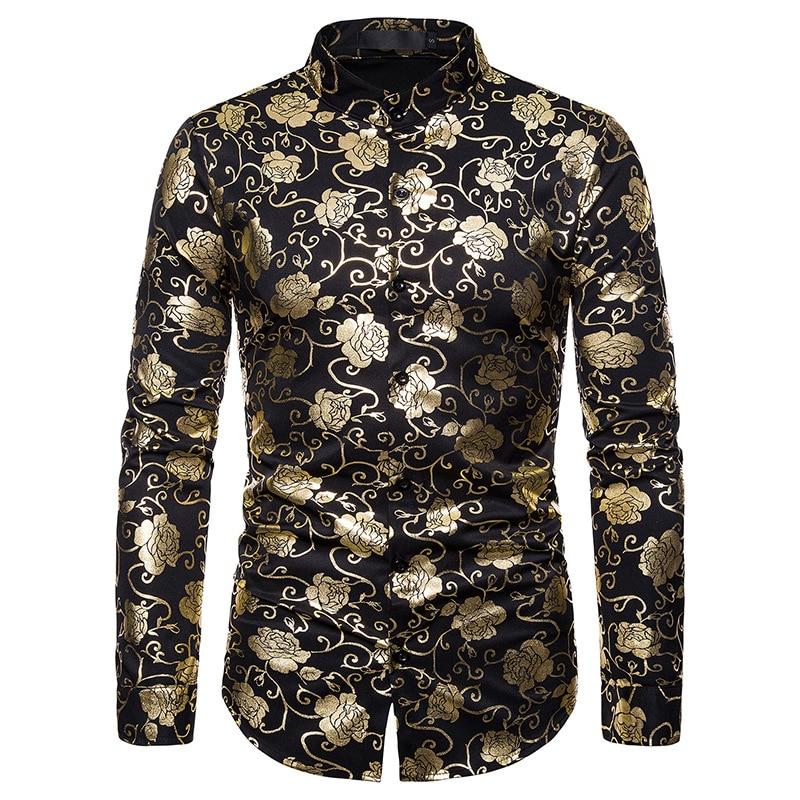 2020 New Men Shirt Long Sleeve Brand Clothing Rose Hot Stamping Dress Shirt Loose Camisa Business Casual Nightclub Style Shirt