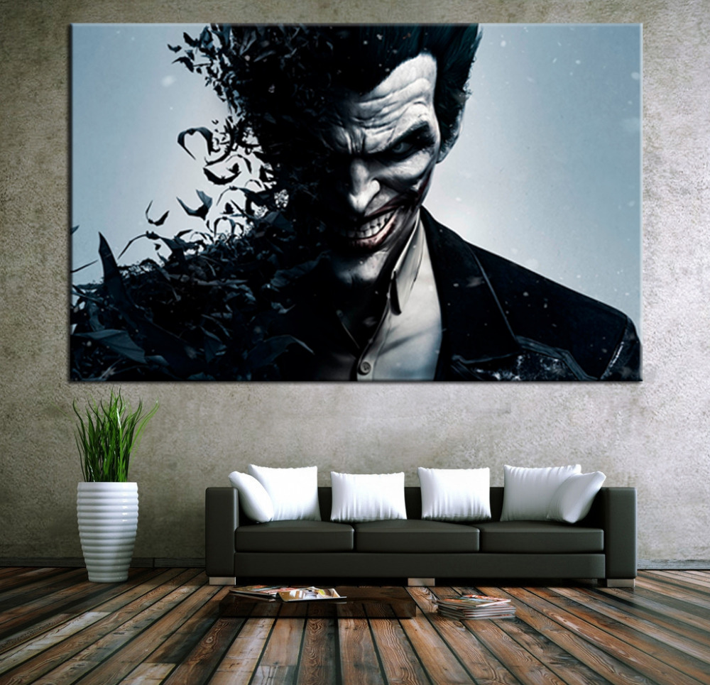 Wall Art Canvas Movie Poster Batman Joker Poster Print On Canvas Home Decor  Wall Pictures For Living Room In Painting U0026 Calligraphy From Home U0026 Garden  On ...