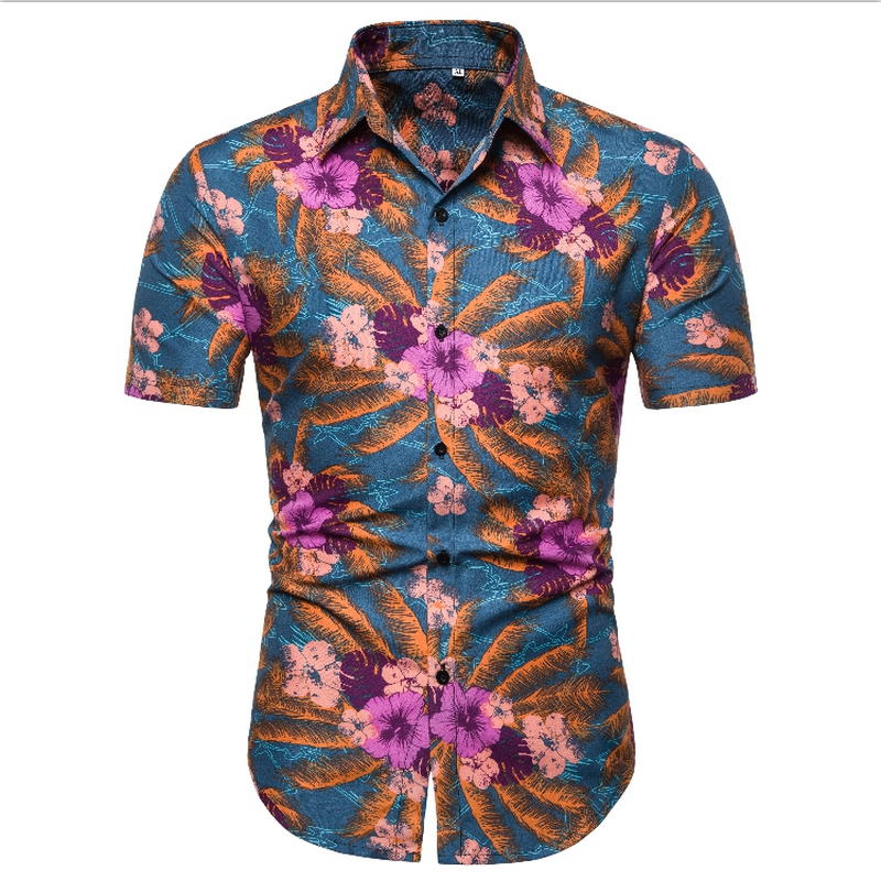 2019 Summer Fashion Mens Shirt Slim Fit Short Sleeve Floral Shirt Mens Clothing Trend Mens Casual Flower Shirts Size M 2XL in Casual Shirts from Men 39 s Clothing