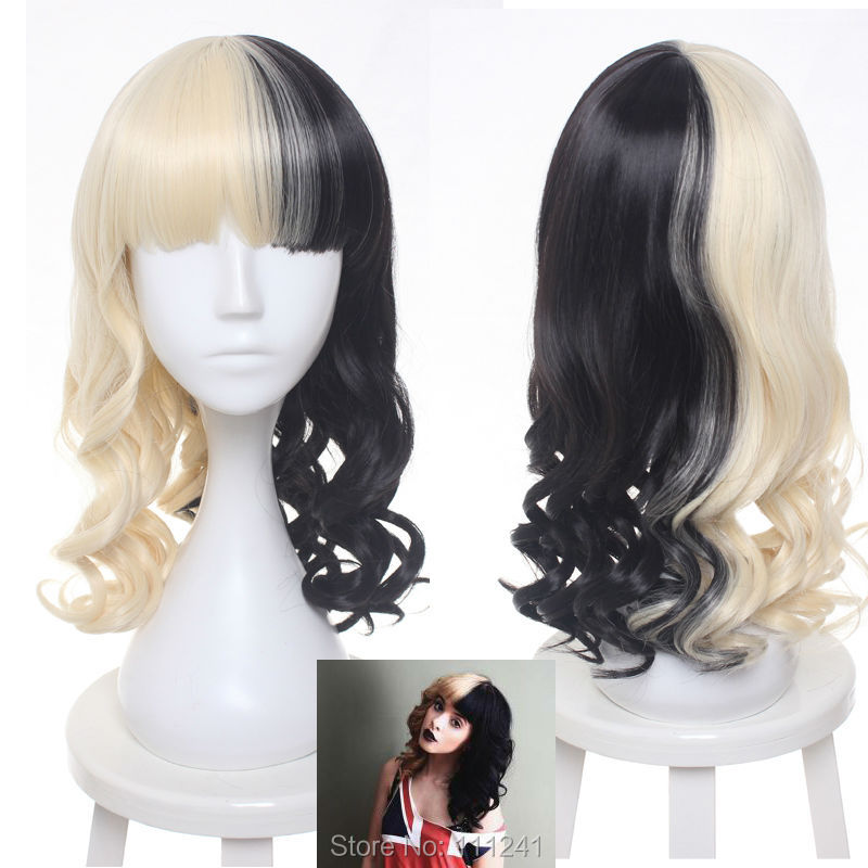 Women's Sia Culy Wig Medium Long Half Black and Blonde Cosplay Party Wigs.Synthetic Hair