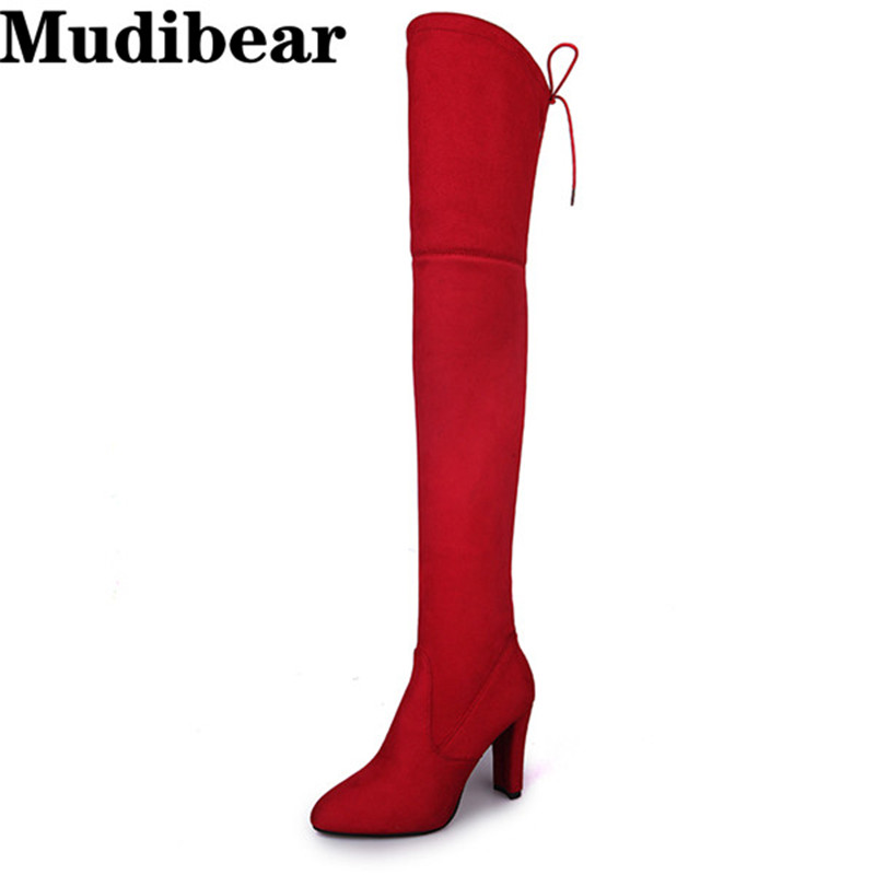 Mudibear Women Fux Suede Thigh High Boots Fashion Over the Knee Boot Stretch Flock Sexy Overknee High Heels Woman Shoes Red джинсы de salitto джинсы