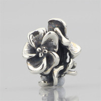 Authentic 925 Sterling Silver Flower Spacer Stopper Bead Charm Fit European 3mm Bracelet Jewelry