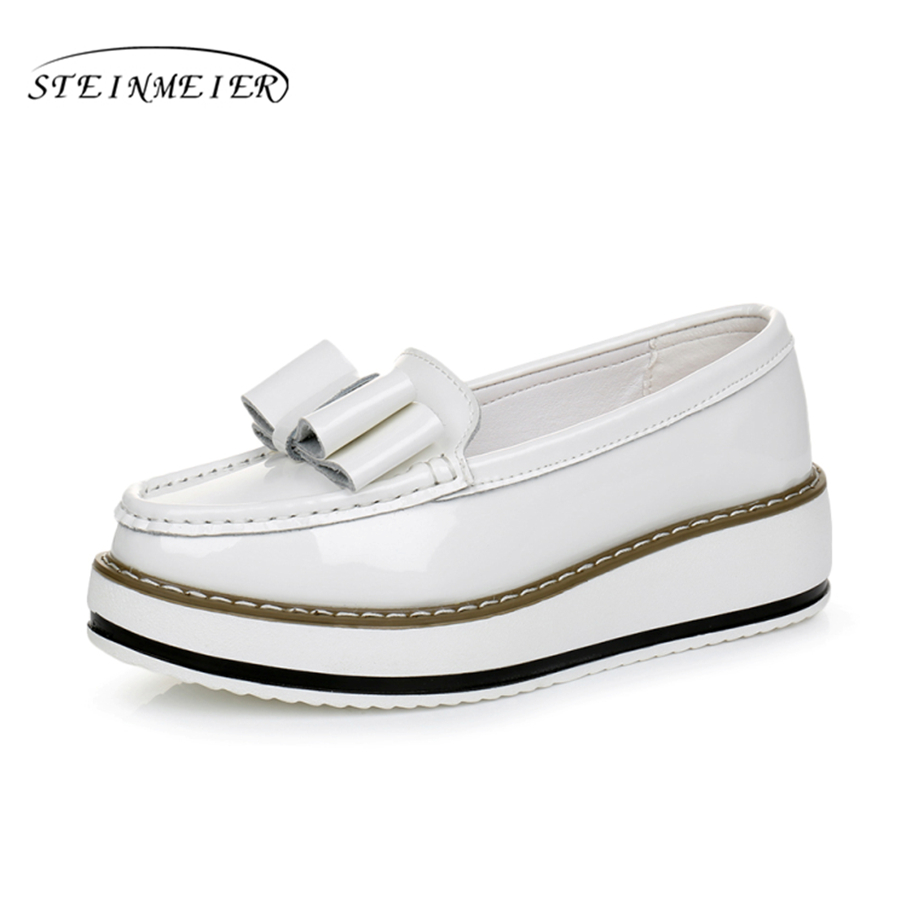 e673fe3cf4 Γυναικεία παπούτσια Patent leather Casual Bow Muffin bottom women flats  shoes brogues white black Vintage oxford shoes for women