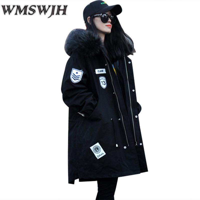 WMSWJH Detachable Lining Winter Fashion Thickening Parka Women's Jacket Women Coat  Warm Plus size Hooded Fur collar Coat WS272 new fashion winter jacket women fur collar hooded jacket warm thick coat large size slim for women outwear parka women g2786