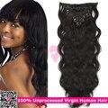 Brasileiro cabelo virgem corpo onda africano Ameican clipe em extensões de cabelo humano para mulheres Clip On extensão do cabelo peruca