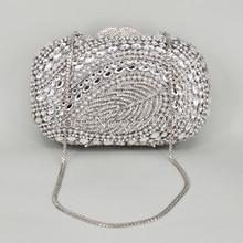 Silber stilvolle frauen abendtasche Pochette Soiree Frauen Abend Handtasche Strass Kristall Abendtasche Fabrik Großhandel 88161