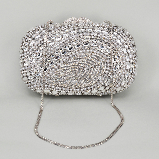 Pochette Soirée Fleurie : Silver stylish women evening bag pochette soiree