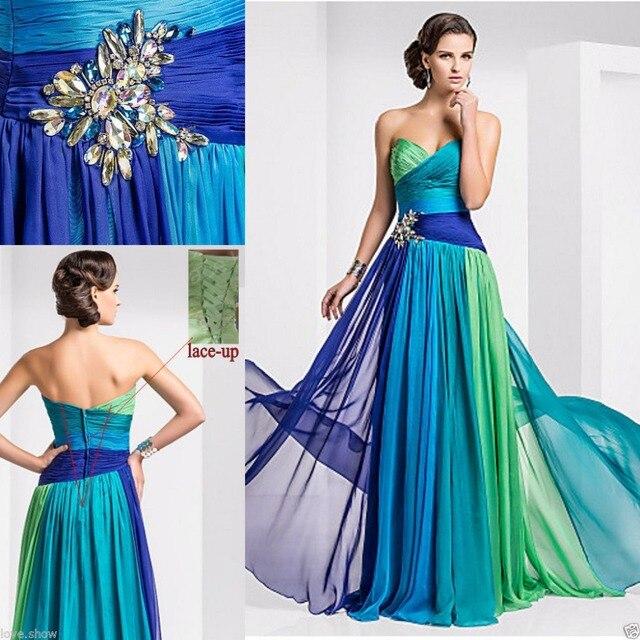 Latest Designs Colorful Prom Dress Long Chiffon Luxury Crystal ...