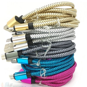 100pcs/lot 1M High Speed Metal alloy Head braided Data Cable Micro Usb Charging Cord Cable For iphone 6 6s 7 8 plus X XS