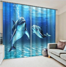 Ocean Dolphin Blue Customized 3D Blackout Window Curtain Drapes For Kids Bed room Living room Hotel Office Wall Tapestry