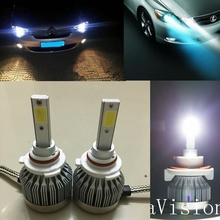 Car H8 H11 H7 LED Headlights 2X30W 6500K 6000LM 12V COB Bulbs 2sides Diodes White Automobiles Replace Parts Lamp(China)