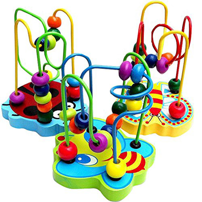 Colorful Wooden Animal Around Beads Wooden Toy Mini Track Maze Beads Maze Classic Baby Developmental Toy Birthday Gift