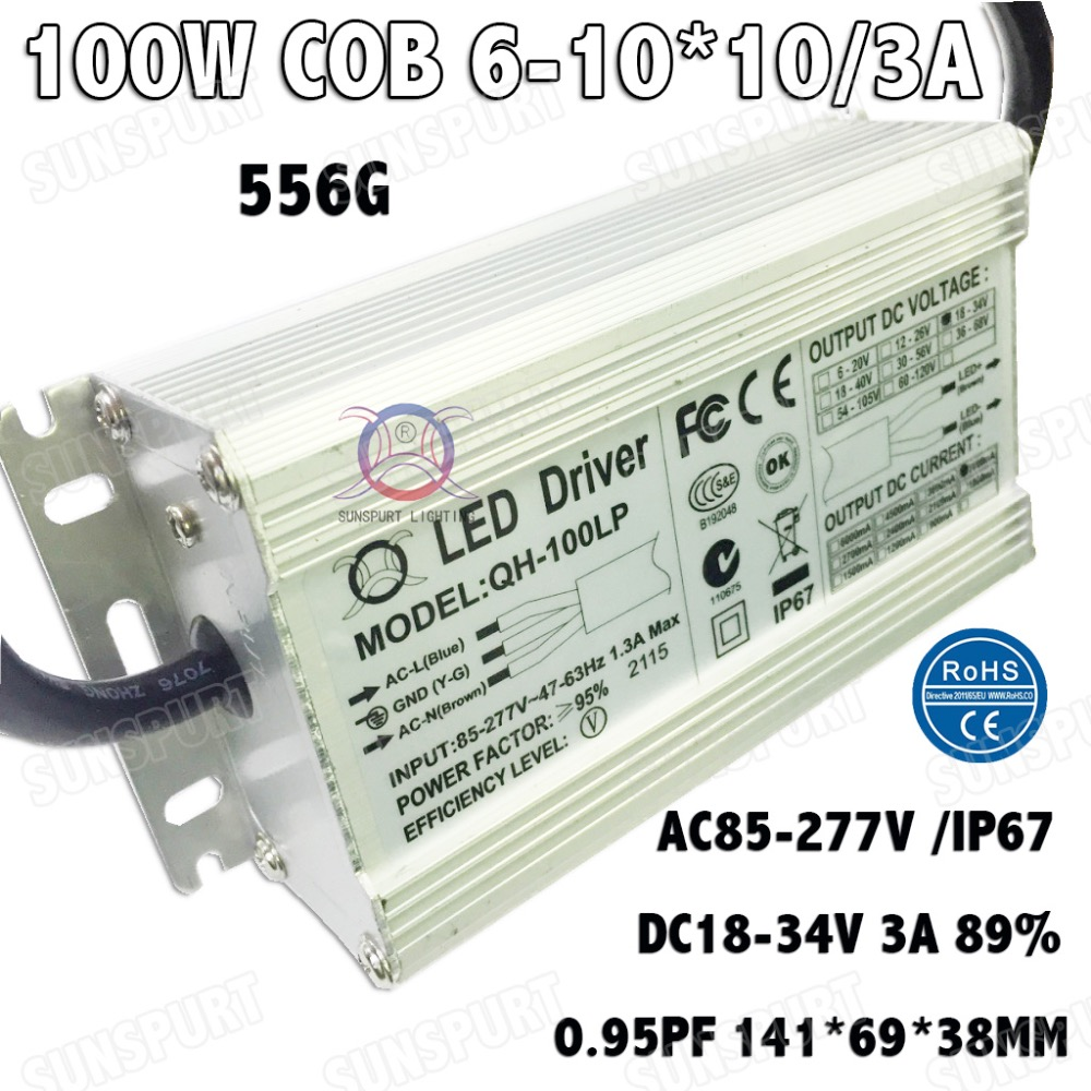 2 Pieces Isolation 100W AC85 277V LED Driver 6 10x10 3A DC18 34V IP67 Waterproof Constant