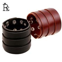 RE CUFF Genuine Cowhide Leather Wrap Bracelet Men Wide Black Brown Punk Rock Bracelets Bangles Jewelry For Women Wristband