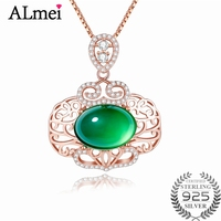 Almei Women Chinese Style 5ct Chalcedony Pendant 925 Sterling Silver Rose Gold Color Wedding Necklace Jewelry with Box 40% FN064