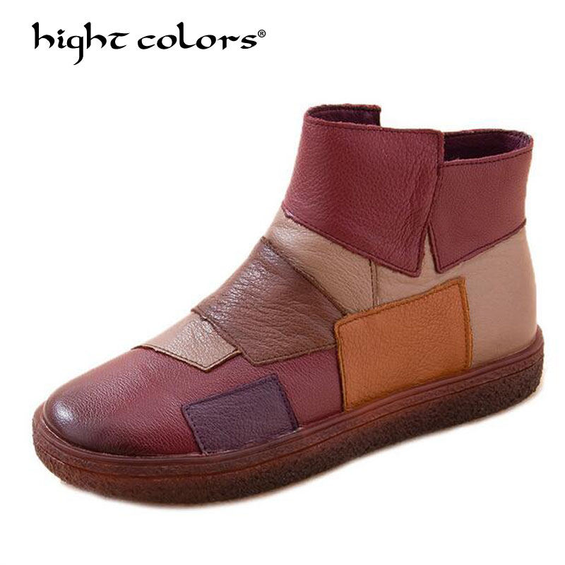 Handmade Boots For Women Ladies Ankle Shoes Flats Vintage Shoes Genuine Leather Women Boots Large Size 2018 fashion handmade boots for women genuine leather ankle shoes casual women shoes round toes ladies boots plus size 35 43