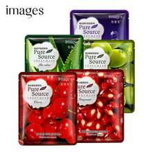 images pomegranate Aloe lavender cherry olive fruit Plant Serum Facial Mask Moisturizing Collagen Oil Control face mask skin 5pc