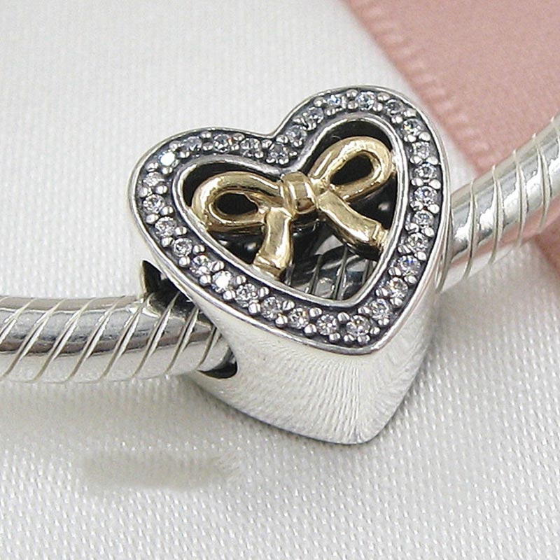Real 925 Sterling Silver Bead Charm Bound By Love Gold Bow Tie With Crystal Beads Fit Pandora Bracelet DIY Jewelry
