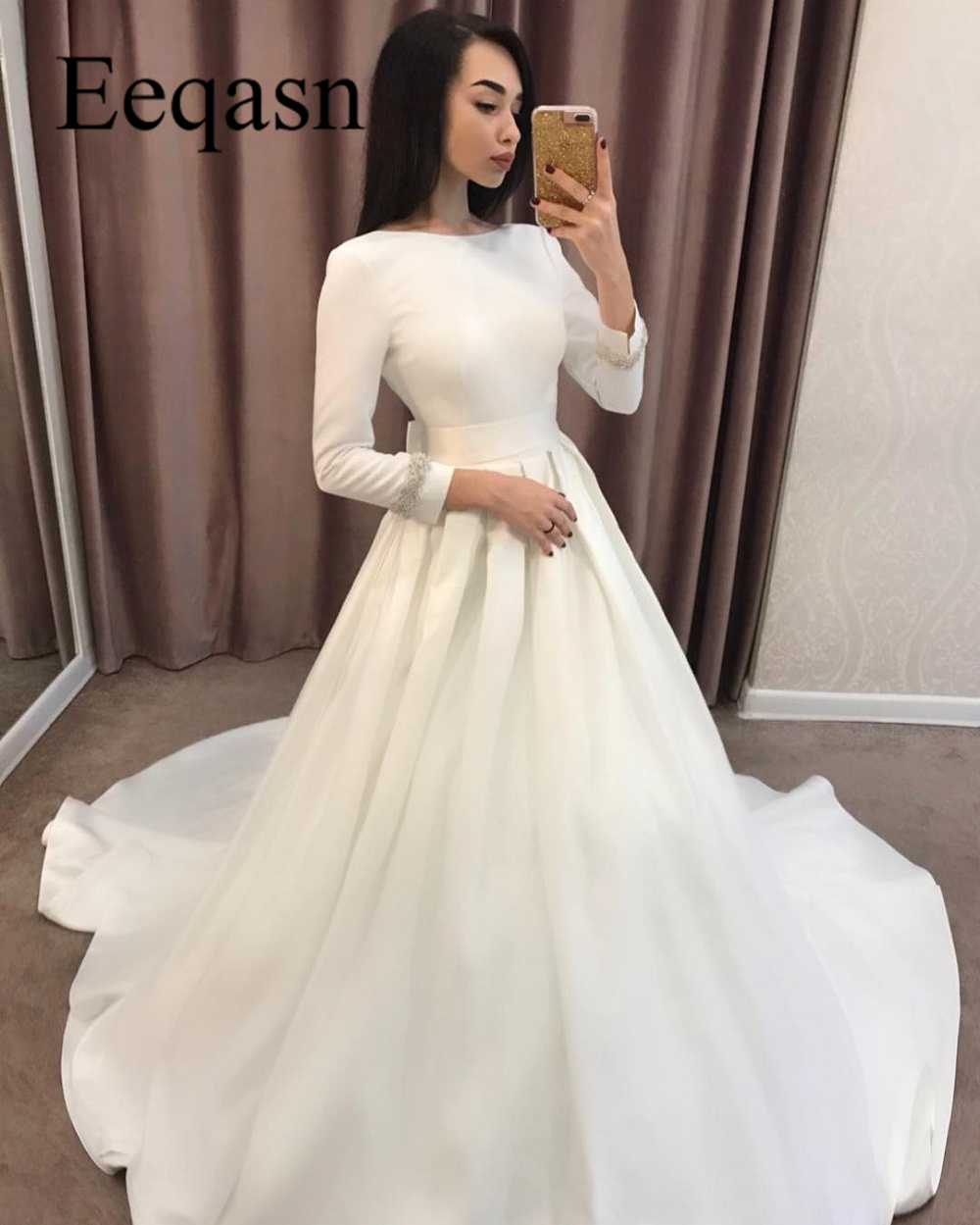 Us 12069 19 Offlong Sleeve 2019 Wedding Dresses A Line Satin Simple Turkey Wedding Gown Bridal Dresses Cheap Mariage Robe De Mariage In Wedding