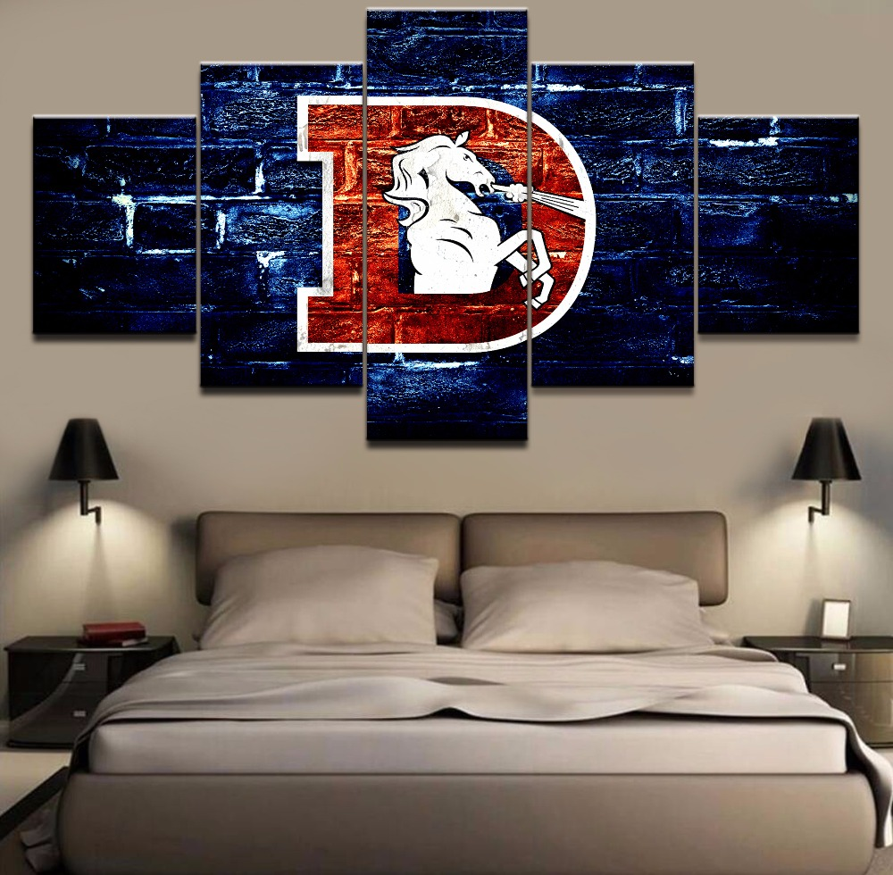 5 Piece Canvas Print Denver Broncos Logo Poster Painting Wall Art Picture Home Decoration Living Room