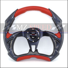 MZ-SPEED Car accessories 14inch For Wheel PVC carbon Fiber material black red yellow Steering Flat Game