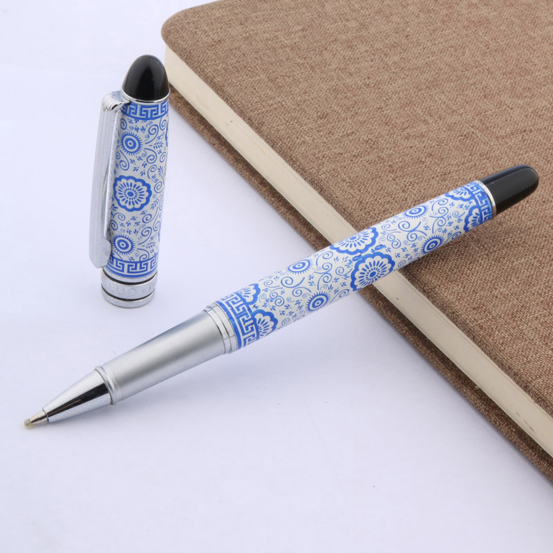 Blue And White Metal Porcelain Silver Piece Rollerball Pen
