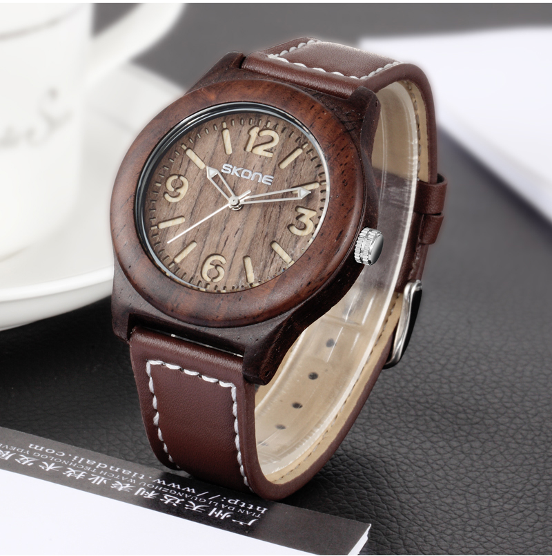 Skone Wooden Watch Women Men Vintage Leather Quartz Wood Dress Watch Clock Top Luxury Brand Genuine Leather Strap Wristwatches цена