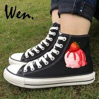 Wen Original Design Delicious Ice Cream Blueberry Strawberry Canvas Women Sneakers High Top Black White Shoes Men Plimsolls