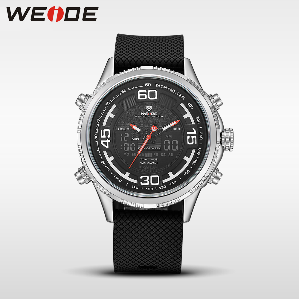 WEIDE genuine sport men watch Silicone quartz watches water resistant analog watch digital clock men relogio masculino automatic shifenmei d1148 men s fashionable water resistant zinc alloy wristband digital watch 1 x cr2032