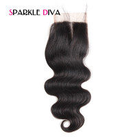 Sparkle Diva Lace Closure Hair Body Wave 100 Remy Human Hair Lace Closure Natural Color Middle