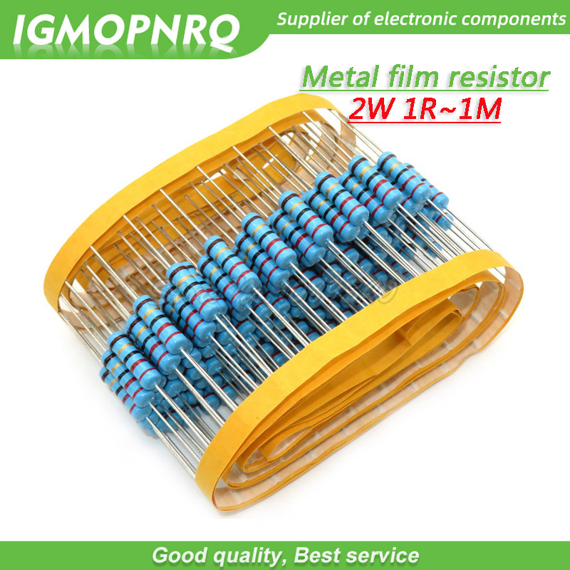 20pcs <font><b>2W</b></font> Metal film <font><b>resistor</b></font> 5 color ring 1% 1R - 1M 1R 22R 47R 100R 220R 470R <font><b>1K</b></font> 10K 22K 100K 220K 10 22 47 100 220 470 ohm image