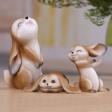 Resin rabbit animal handicraft decoration creative gift room home bookcase wine ark adornment lovely small place