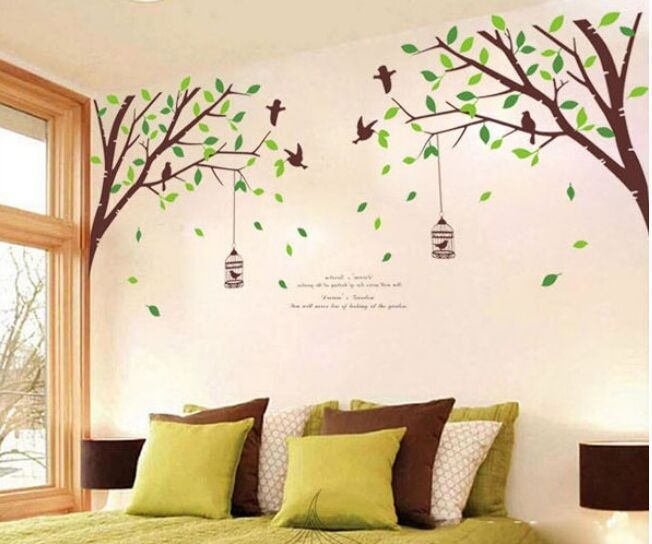 free shipping extra large green tree birds removable wall stickers