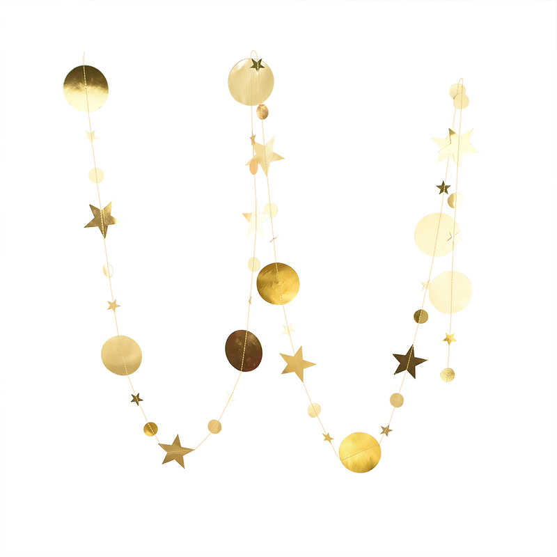 Gold Happy Birthday Banner Bunting paper Birthday Party Hanging Garland Banner with 4M Paper Garlands Star Shape String Banners Baby Shower Decoration