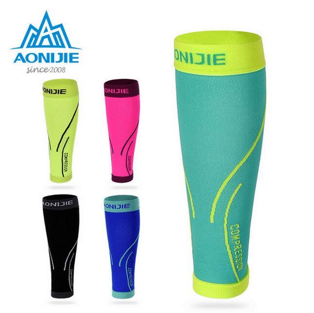 AONIJIE 1 Par Sports Compressão Bezerro manga Respirável Leggings Quente Corrida Futebol Basquete Esportes vestuário de Protecção de Segurança
