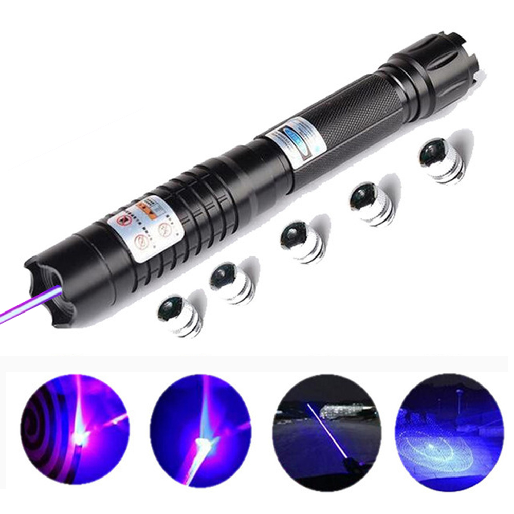 Più Potente Brucia Torcia Laser Blu 445nm 10000 m Focusable Puntatori Laser vista Torcia bruciare il fiammifero candela accesa della sigaretta