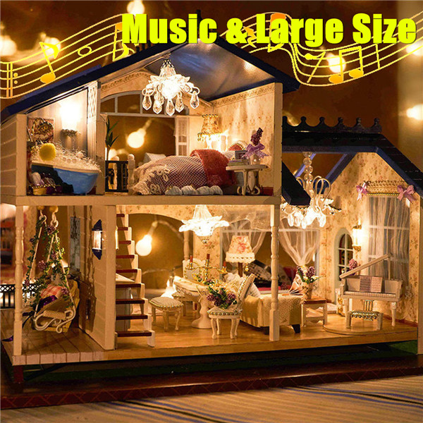 Music LED Light Miniature Doll House Provence Dollhouse DIY Kit Wooden House Model Toy with Furniture Birthday Christmas Gifts-in Doll Houses from Toys & Hobbies