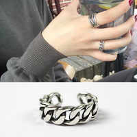 ROCKART 100 925 Sterling Silver Personalized Flat Thick Chain Open Ring For Women Adjustable Fashion Jewelry