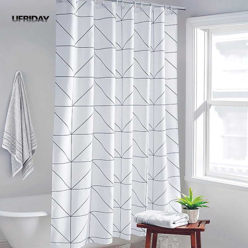 White Grey Bathroom Curtains
