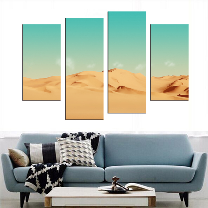 4 pieces Golden Sand Sunset Desert Painting Modern Wall Decor HD ...
