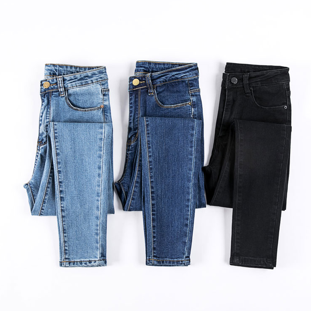 New Fashion Casual Jeans For Women Skinny High Waist Jeans Woman Washed Denim Pencil Pants Stretch Women Jeans Pants