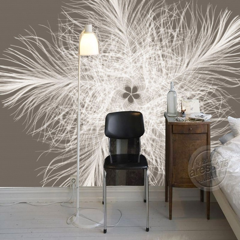 Elegant Wallpaper For Wall: Modern Photo Wallpaper Elegant Feather Wallpaper Custom 3D