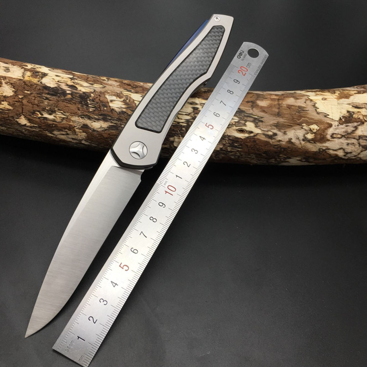 High quality bearing Titanium handle D2 blade knife hunting camping outdoor self-defense knife tactical army Survival knife EDC цена и фото